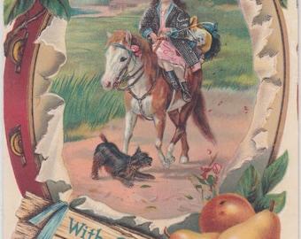 1911 Girl On Horseback,Side Saddle,tambourine And Pear Border,Black Scotty Dog, Antique Postcard Embossed