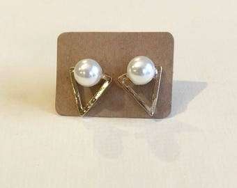 Pearl and Gold Triangle Stud Earrings