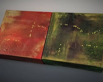 "Diptych Painting on Canvas 6""x6"" with Fiber Stitching ""Orange-Green"""
