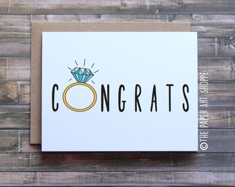 Congrats on your engagement card, wedding card, engagement ring card