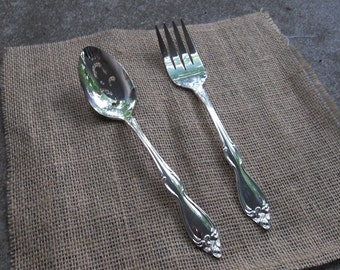 OLD SOUTH Silver Plate Flatware Serving Set Spoon Silver Meat Fork Wedding Decorations Table Decor French Country Silver Casserole NOS
