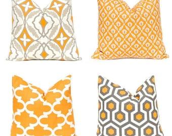 Fall Pillow Covers - Orange Pillow Covers - Decorative Pillow Covers - Orange and Gray Pillows Covers - Autumn Pillows - Fall Decor