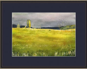 Original watercolor painting - landscape - field