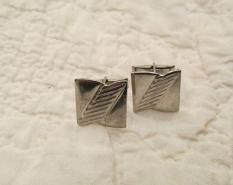 Vintage Cuff Links silver tone Metal