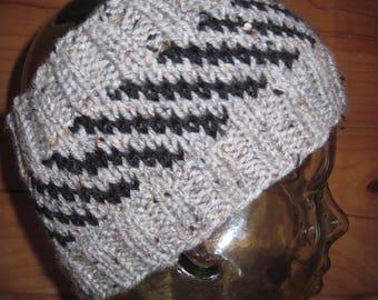 "Headband Earwarmer 5"" Wide Hand Knit Gray Tweed with Black Free US Shipping!"