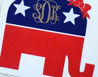Republican Elephant Decal, Republican Elephant Car Decal, Republican Elephant Sticker, Republican Sticker, Republican Decal, Republican Car