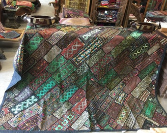 Antique Vintage Green Original Tapestry Hand Crafted Zardozi Beaded RUG Wall Hanging Decor