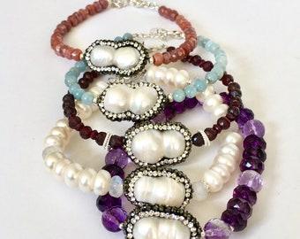 Single Pearl Gemstone Bracelet, Colorful Gemstones, Silver Gem Bracelet Boho, Birthday Gemstone Everyday Bracelet, Birthday Jewelry