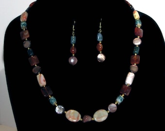 Semi-precious stones necklace and earrings set made of rust carnelian, moss agate, redline marble and marbled topaz