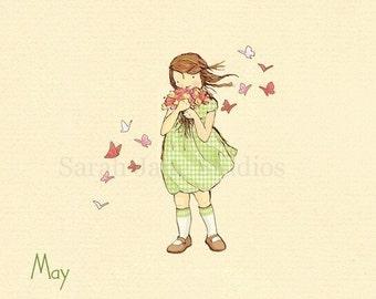 Children's Wall Art Print - May Flowers - 8x8 - Girl Kids Nursery Room Decor