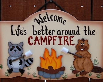 Wood Outdoor Camping Sign - Wildlife Critters