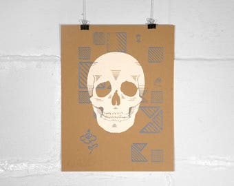 Skull with Blue Pattern – Screen Print