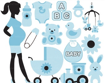 pregnancy pregnant baby clip art clipart digital - Chic Pregnancy Digital Clip Art (Blue) - BUY 2 GET 2 FREE