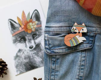 Fox wooden brooch - Tribal fox - Wooden pin - Birthday gift - Laser cut - Woodland animals -Gift for women -Gift for her - Enamel pin-Native