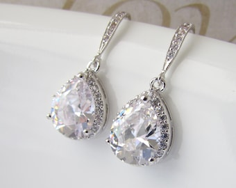 Crystal Earrings, Cubic Zirconia Earrings, CZ Teardrop, Crystal Drop Earrings, Bridal Jewelry, Crystal Wedding Earrings, Bridesmaid Earring