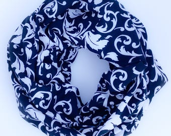 Black And White Floral Single Loop Infinity Scarf
