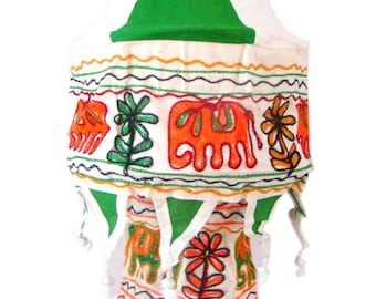 Cotton Lantern Lamp Bulb Shade Applique with Embroidery Elephant Handmade Home Decor Accent Door Hanging Cotton Cloth Home Decor from India