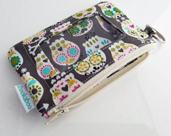Keychain Wallet - Womens Wallet - Credit Card Holder - Slim Wallet - ID Card Wallet - Student ID Wallet - Zippered Coin Purse - Gift for Her