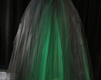Gothic Floor length Adult tulle tutu skirt green black extra puffy petticoat five layer wedding bridal -You Choose Size  Sisters of the Moon