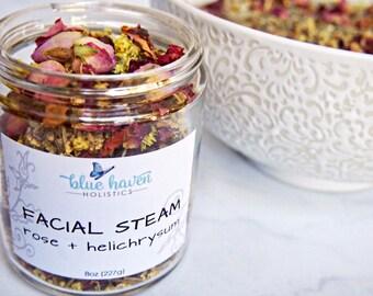 Rose & Helichrysum, Face Steam, Herbal Facial Steam, Organic Facial Steam, Dry Skin