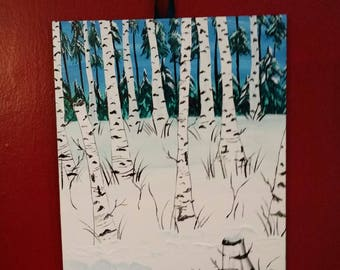 Birches in Ivory//Original Fine Art Impasto//Birch Tree//New England Landscape//Winter Scene//Vermont/Handpainted/Handmade/Acrylic on Canvas