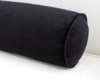 8X54 Black Velvet  bolster pillow includes insert