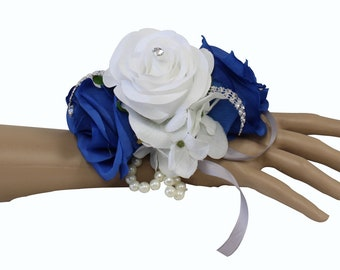 Corsage and Boutonniere set: horizon blue keepsake artificial flower wrist corsage and matching boutonniere(Pin included)