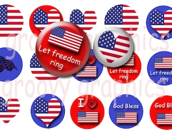 4th of July bottle cap images - American flag 1 inch circles - Patriotic bottle cap images - Cupcake toppers - Magnets - Planner stickers