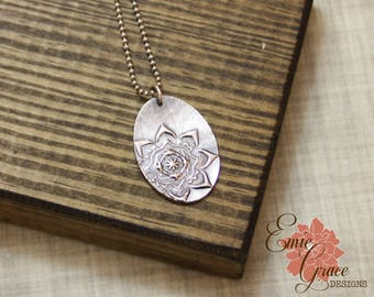 READY TO SHIP - Moroccan Flower Necklace, Fine Silver and Sterling Silver, Precious Metal Clay, Medallion Floral Pendant