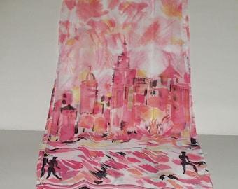 Vintage Scarf Long Head Scarf Semi Sheer Pink Cityscape Print Retro Fashion Accessory Neck Scarf Pocket Scarf