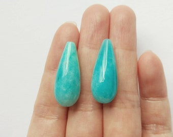 Peruvian Amazonite Smooth Half drilled Long Teardrops 10x25 mm One Pair - Perfect for earrings K6210 K6245