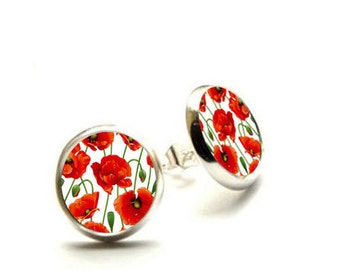 Red poppy post earrings, Red poppy Jewelry, Flowers Earrings, Hypoallergenic Earrings
