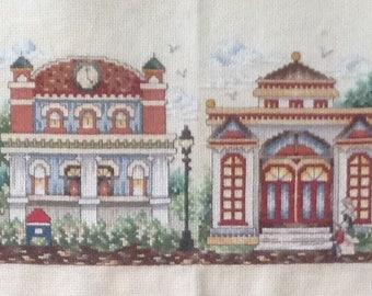 "Cross Stitch Finished, 8 Classic Homes, Neighboorhood, Houses, Long Horizontal Display (44"")"