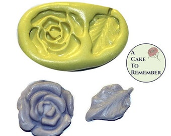 Silicone flower and leaf mold for cake decorating or polymer clay, resin, jewelry, candy, chocolate. Flexible push mold.  M041