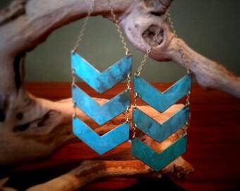 Triple Chevron Patina Earrings-handmade, statement piece, turquoise, boho, modern, gold fill, brass, editorial,gift idea,christmas present