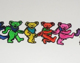 Grateful Dead Dancing Bears Strip Embroidered iron on Patch 9 1/2""