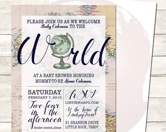 Welcome to the World Baby Shower Invitation Printable, Baby Girl Shower, Gender Neutral, Travel Shower, Globe, Map Theme, Around the World