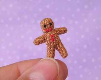 PDF PATTERN - Crochet Micro Miniature Gingerbread Man - Amigurumi Tutorial