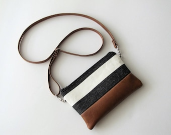 Crossbody Bag, Crossbody Clutch, Vegan Crossbody Purse, Clip on Crossbody Strap,Crossbody Wallet,Wide Black Stripe Crossbody Bag