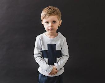 Gray kids t-shirt long sleeves/Hand made t-shirt cross/ Kids cotton t-shirt/ Long sleeve toddler/ Kids t shirt design/ Long sleeve kids