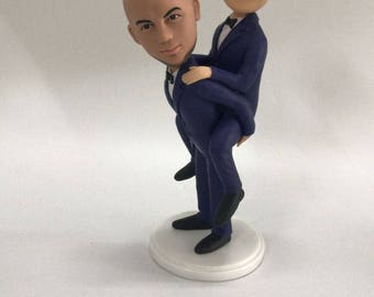 Gay Male Wedding Cake Topper Piggy Back Style Custom Wedding Topper Personalized Gay Wedding Gay Bobble Head Topper Gay Male Wedding Gift