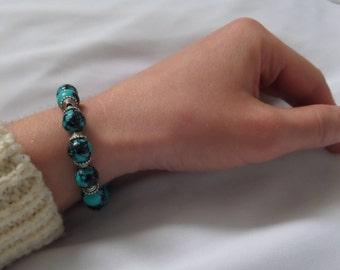 Bracelet with natural stones malachite Blue, blue malachite in bracelet, gift for her