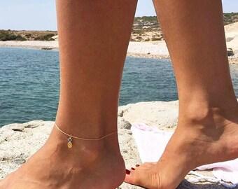 14K Gold Pineapple Anklet / Gold Anklet Available in 14k Gold, White Gold or Rose Gold