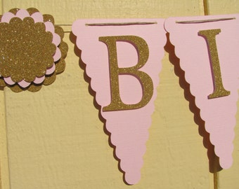 Pink and gold birthday party banner, Glitter Gold Happy Birthday Banner, Birthday Banner, Happy 1st Birthday Banner, Birthday Decorations