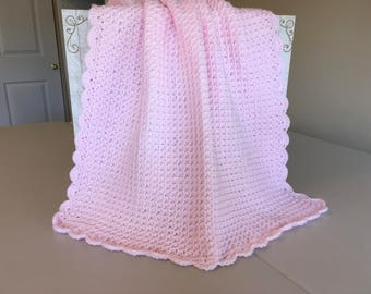 Crocheted Waffle Stitched Baby Afghan- Pink