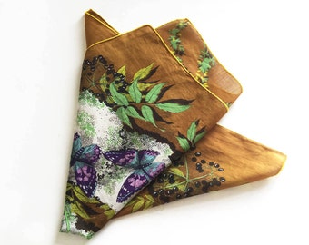 Square head scarf, elderflowers, elderberries and butterflies, 1970s scarf, vintage fashion accessory,