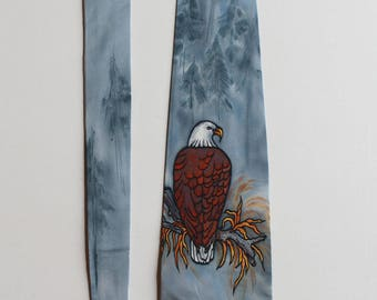Silk necktie. Hand painted necktie. Eagle necktie. Accessories for men. Gift for him. Made to order.