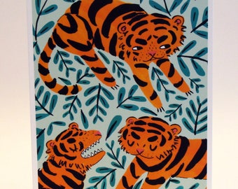 Tiger Greetings Card  - Illustrated Animal Notecard - Cute Card