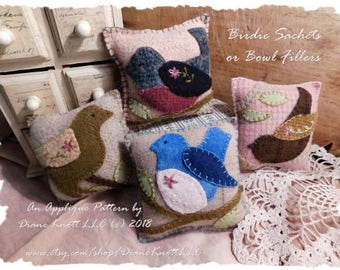 Birdie Bowl Fillers, Sachets or Pincushions Applique Pattern Download by Diane Knott LLC - EASY - suitable for both cotton and wool methods
