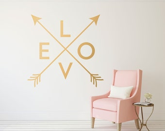 Gold Arrow Wall Decal - Crossed Arrows Love Wall Decor - Love Wall Decal - Gold Arrow Wall Decor - Dorm Decor Stickers for Wall - WB405